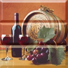 AK1055 Панно Absolut Wine 05 and Tea Flowers Composicion Wine 05 30x30 (комплект 3 шт.)